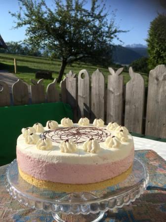 Man sieht eine rosa-weiße Torte auf einem Tisch im Freien und im Hintergrund die Berge und den blauen Himmel.