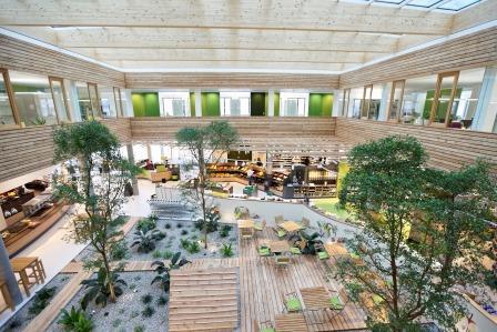 Ansicht der Genussküche von oben. Man sieht den Sitzbereich mit viel Holz und Bäumen dazwischen.